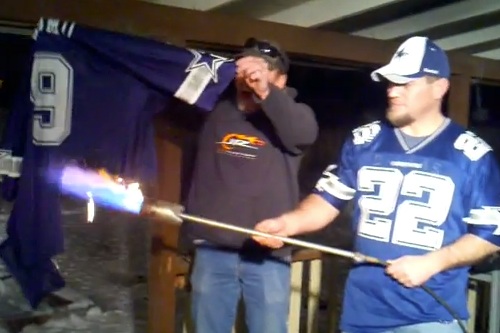 Cowboys Fans Burn Romo Jerseys
