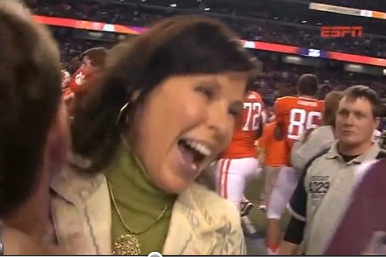 Dabo Swinney picked up Jeannine Edwards after Clemson won bowl game