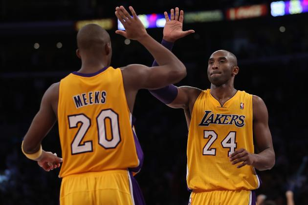 Kobe Bryant Gets Competition from Jodie Meeks in Tuesday Night Dunk-Off