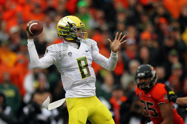 Tostitos Fiesta Bowl 2013: Examining Marcus Mariota and Collin Klein QB Battle