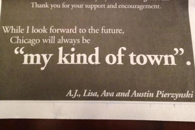 Pierzynski Thanks Chicago Fans with Ad