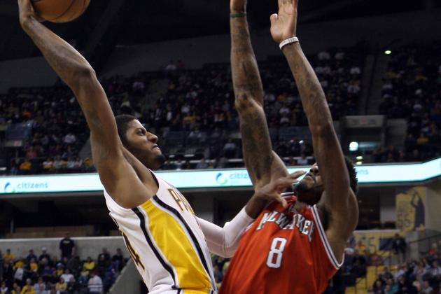 Video: Paul George Dunks over Bucks' Larry Sanders