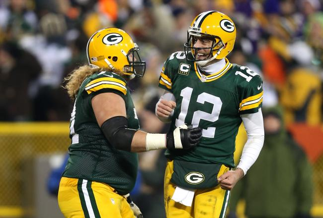 Aaron Rodgers set an NFL playoff record completing passes to 10 different receivers.