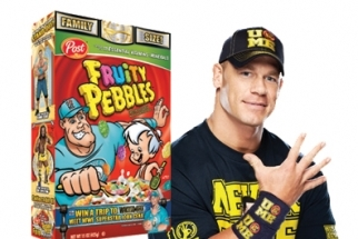 WWE News: John Cena 5 Knuckle Shuffles Fred Flinstone from 'Fruity Pebbles' Box