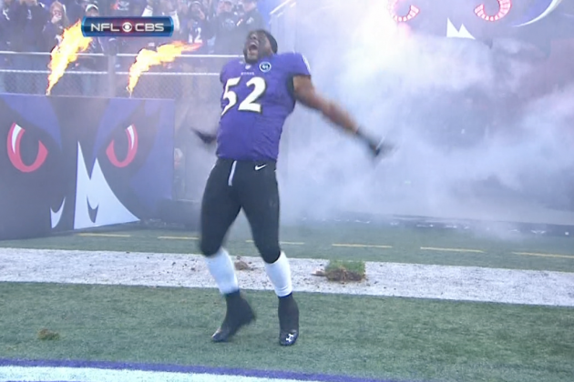 Ray Lewis Dances out of the Tunnel in Baltimore for the Last Time