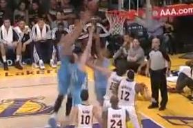 JaVale McGee Goes Up and over Two of His Own Teammates