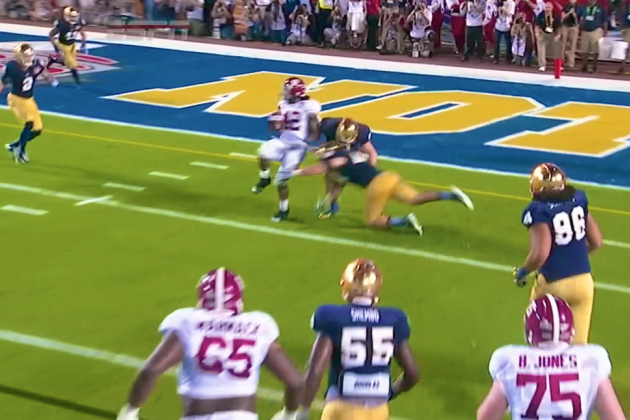 Alabama vs. Notre Dame: Eddie Lacy Goes Spin Cycle for Tide Touchdown
