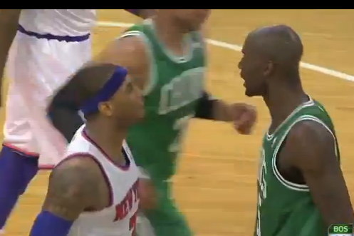 Carmelo Anthony and Kevin Garnett Go at It, Receive Double Technicals( VIDEO)
