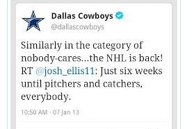 The Dallas Cowboys Don't Really Care About Hockey, Baseball