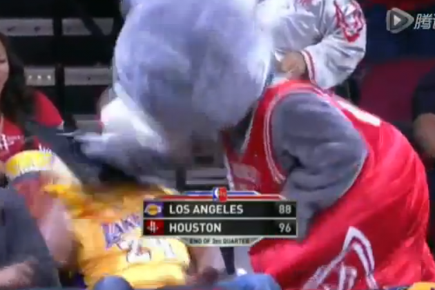 Houston Rockets Mascot Destroys Lakers Fan with Cake to Face