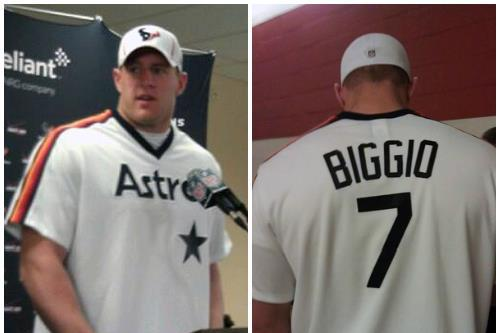 Photo: J.J. Watt Rocks Old School Craig Biggio Jersey