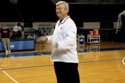 Texas a Head Coach Gary Blair Hits Half Court Shot