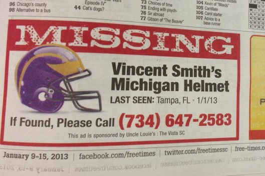 Newspaper Advertisement for 'Missing' Michigan Helmet