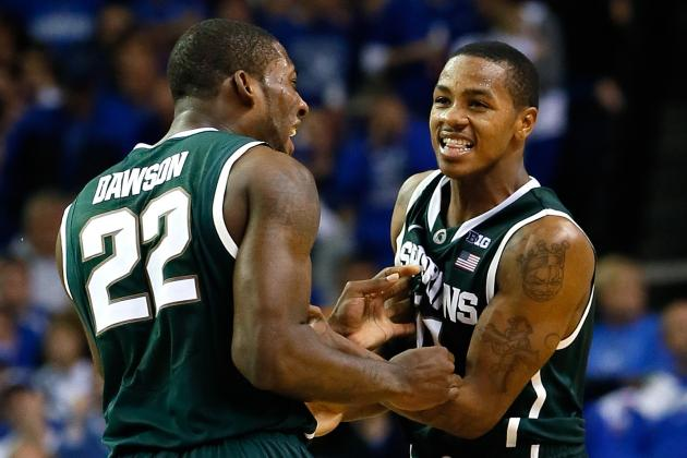 Branden Dawson's Dunk Helps No. 22 Michigan State Escape vs. Iowa