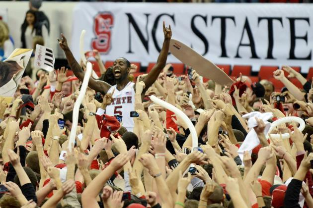 NC State Fan in Wheelchair Rushes Court and Gets Assist from CJ Leslie
