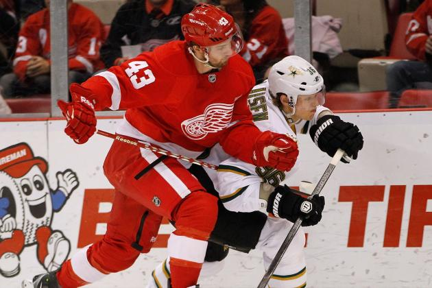 Red Wings' Darren Helm, Mikael Samuelsson Likely to Miss Start of Season