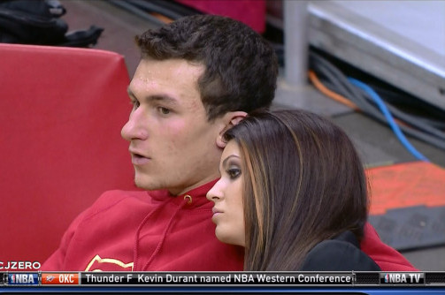 Johnny Manziel Sits Courtside with Model Girlfriend, Still Living Large