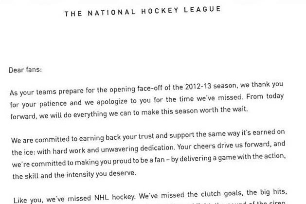 NHL Writes Apology Letter in Newspapers