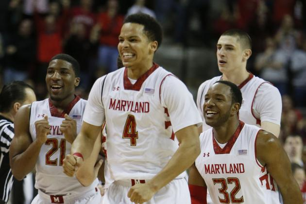 Terps Players Enjoy the Win, Fans Rush Court