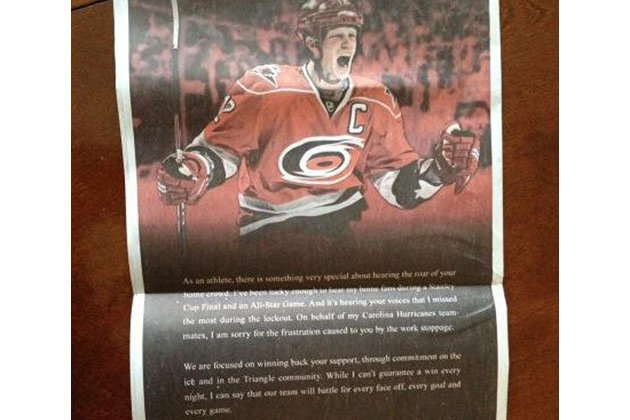 Eric Staal Takes Full-Page Ad in North Carolina Newspaper to Apologize to Fans
