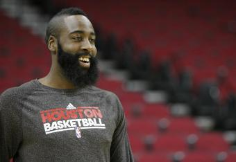 There haven't been many reasons to smile for James Harden, thus far.