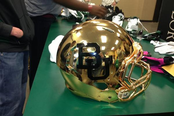 PHOTO: Baylor's New Gold Helmet for 2013
