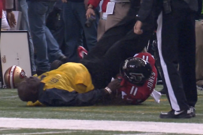 Julio Jones Wipes Out Security Guard in NFC Championship Game