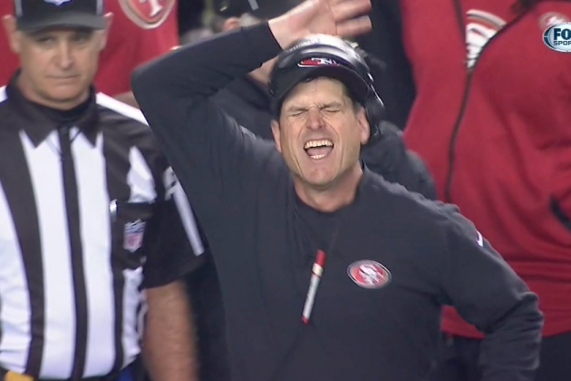 Harbaugh Flips After Lost Challenge