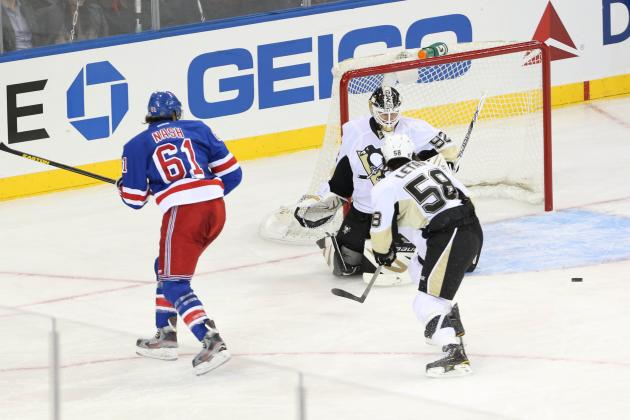 Penguins pepper Lundqvist, throttle Rangers