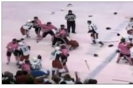 VIDEO: Bench-Clearing, Goalie-Fighting, Pink-Jerseyed Hockey Brawl