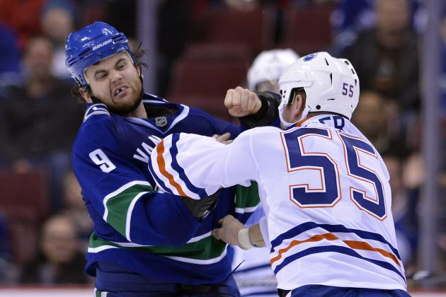 Canucks' Kassian Bloodies Eager; Oilers Toughie on Shelf?