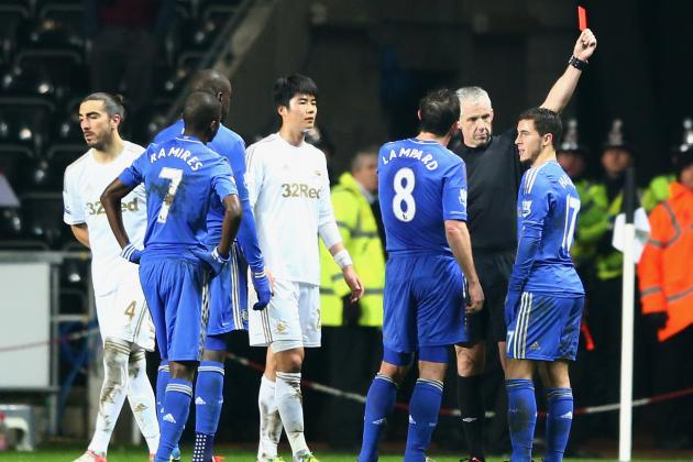 Eden Hazard Sent off for Kicking Ball Boy in Capital One Cup Clash vs. Swansea