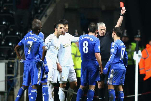 Chelsea's Eden Hazard Sent off for Kicking Time-Wasting Ball Boy in Cup Semi