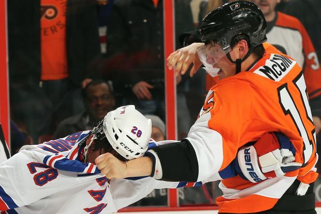 Watch: Flyers' McGinn and Rangers' Newbury Drop the Gloves