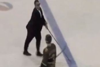 Hockey Coach Protests Terrible Refs by Pretending to Be Blind