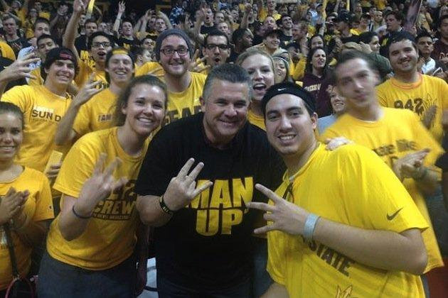Todd Graham Mingles with the Student Section During ASU Basketball Game
