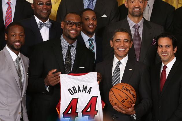 Reigning NBA Champion Miami Heat Visit President Obama at the White House