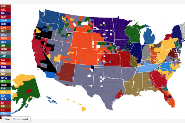 NFL Fan Map by County