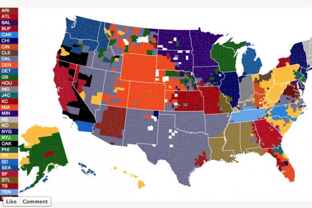 NFL Fan Map by County