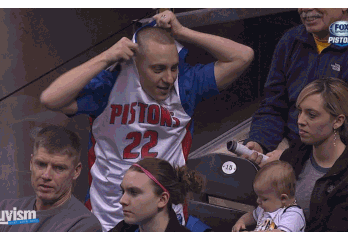 DISTRAUGHT PISTONS FAN RIPS off HIS JERSEY in GIF of the YEAR