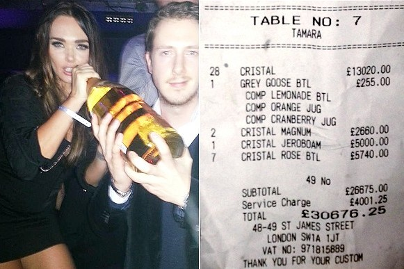 Tamara Ecclestone Blows £30,000 on Nightclub Champagne Bar Bill