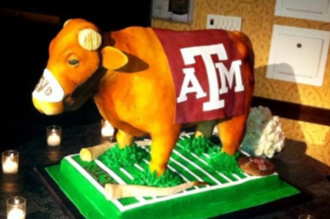 Texas a Horns Sawed off Bevo on Groom's Cake (PHOTO)