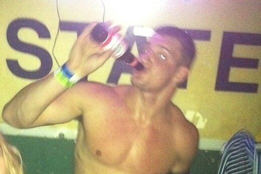 Rob Gronkwoski Went to Baton Rouge for a Night of Shirtless Partying