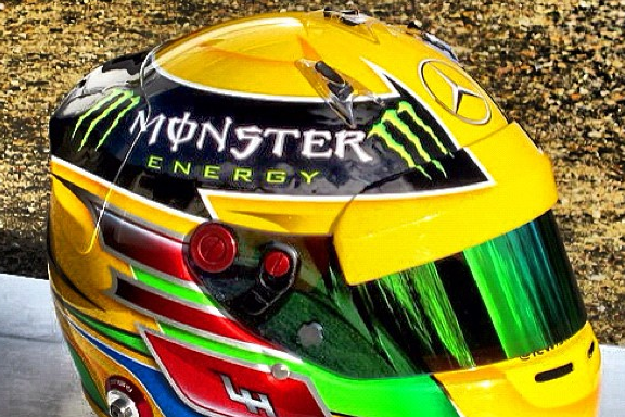 Hamilton Posts Instagram of Vibrant New Helmet