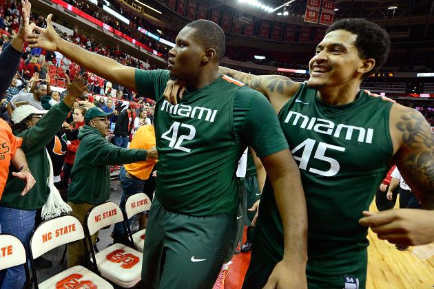 University of Miami Center Reggie Johnson in Right Place at End