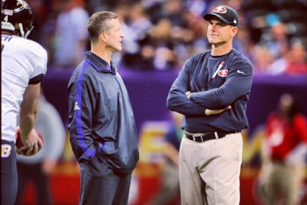 Harbaughs Share Moment Before Super Bowl