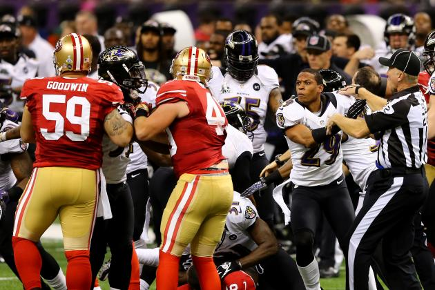 Super Bowl XLVII Video: Watch Ravens and 49ers Get into Brawl
