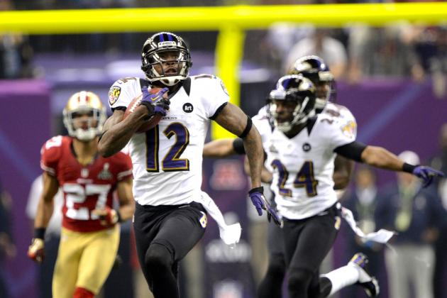 Jacoby Jones Ties Record with 108-Yard Kickoff Return TD