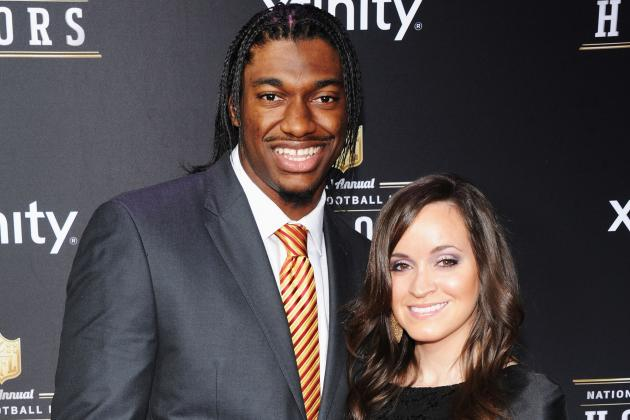 Robert Griffin III Walking, Talking and Smiling as He Collects NFL Rookie Award