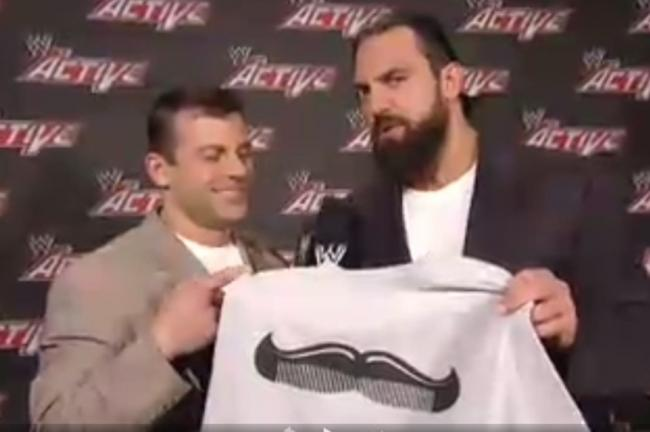 WWE app screenshot (Damien Sandow pushes Cody's new shirt)